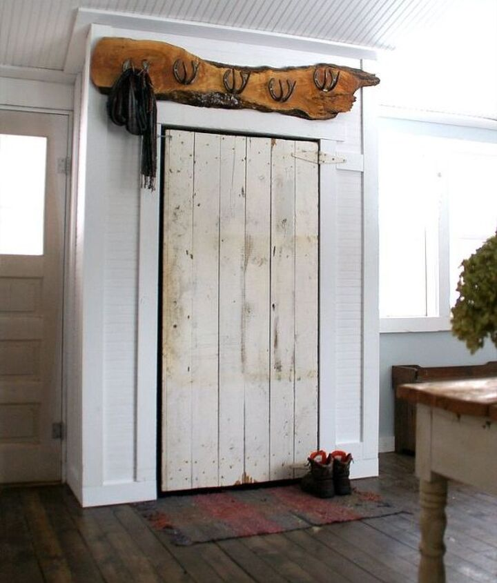 covering up our incredible eye sore barn door closet, closet, diy, doors, outdoor living, woodworking projects