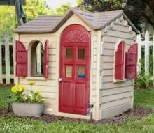 quick and easy playhouse makeover, outdoor furniture, outdoor living, painted furniture