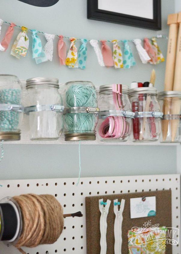 hanging mason jar craft supply storage, crafts, mason jars, organizing, storage ideas