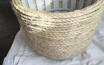 Thrift Store Basket Transformed With Sisal Rope