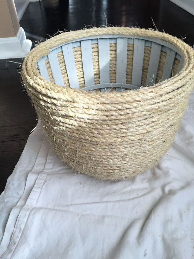thrift store basket transformed with sisal rope, crafts, repurposing upcycling, storage ideas
