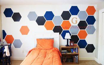 hexagon wall tween boy room focal wall, bedroom ideas, diy, painting