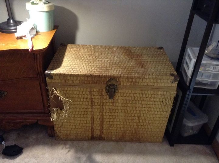 q help what to do with this old wicker chest, furniture repair, painted furniture