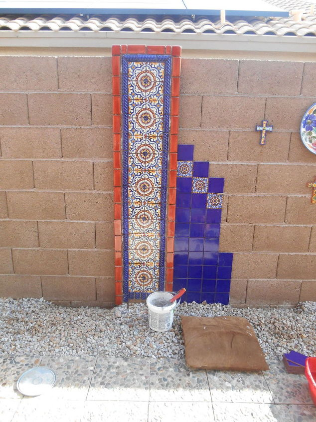 Diy hand painted talavera tile accent wall hometalk - Exterior painting process decoration ...