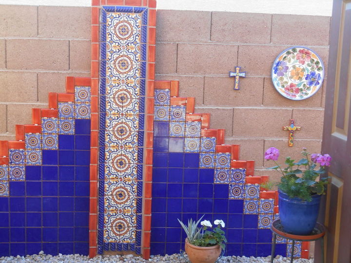 diy hand painted talevera tile accent wall, outdoor living, painting, wall decor