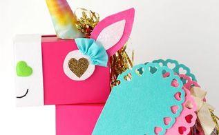 unicorn valentine card holder, crafts, seasonal holiday decor, valentines day ideas