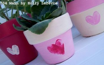 painted fingerprint heart pots, container gardening, crafts, gardening, seasonal holiday decor, valentines day ideas