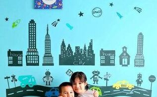diy chalkboard robot town wall decals project, bedroom ideas, chalkboard paint, wall decor, DIY Chalkboard Robot Town Wall Decals