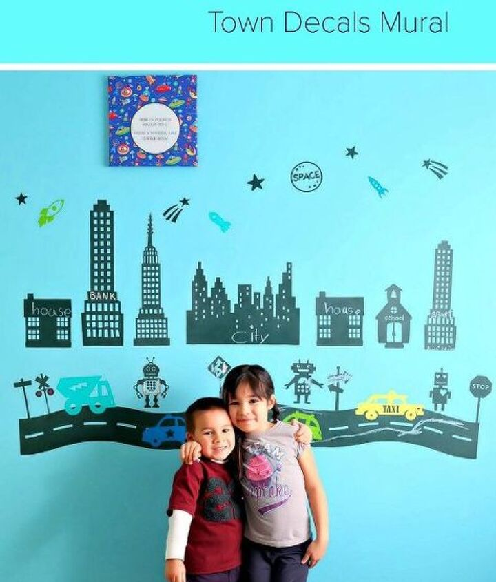 DIY Chalkboard Robot Town Wall Decals