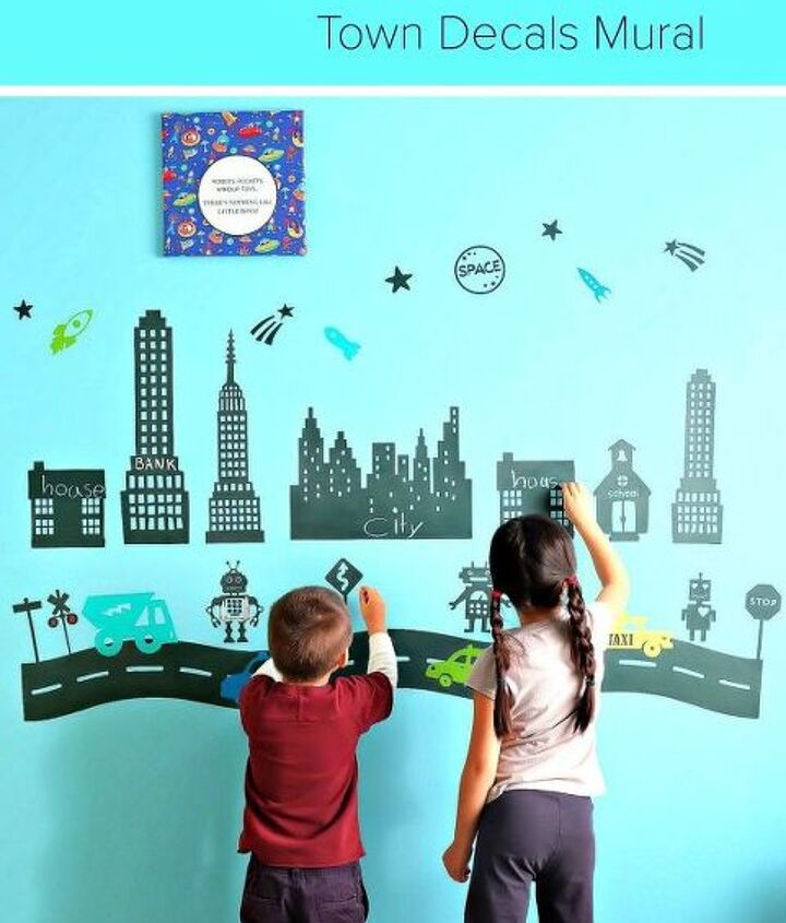 diy chalkboard robot town wall decals project, bedroom ideas, chalkboard paint, wall decor