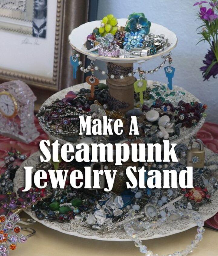 steampunk jewelry stand, crafts, organizing, repurposing upcycling, storage ideas