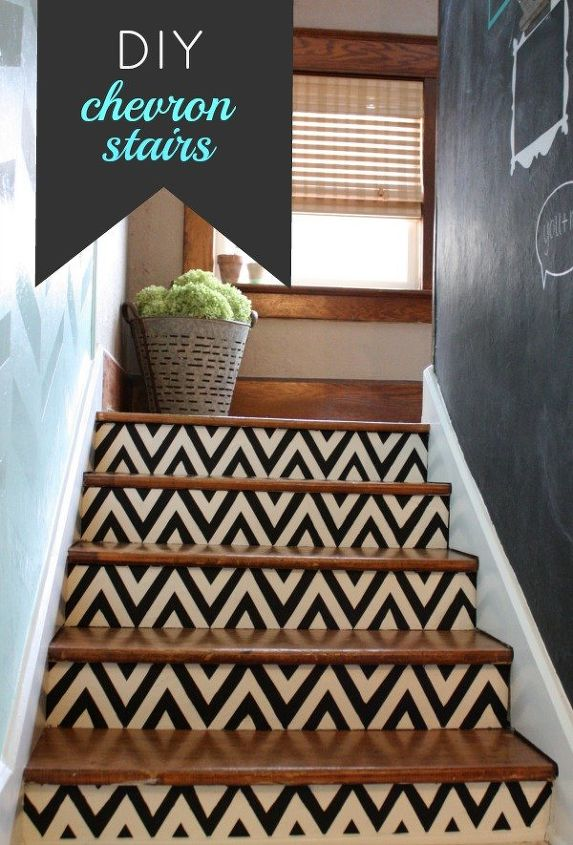 diy chevron painted stairs, painting, stairs