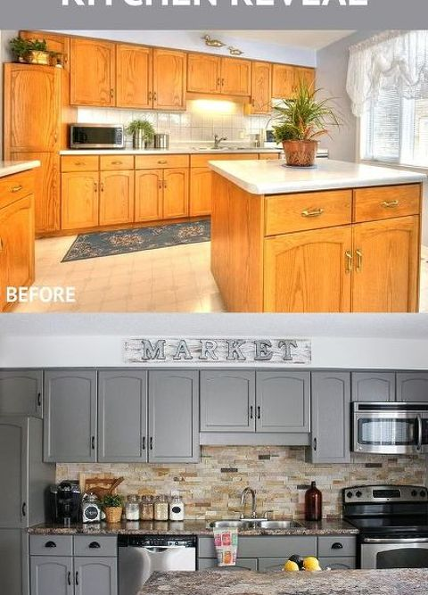 Painted Kitchen Cabinet Makeovers Before And After our kitchen cabinet makeover | hometalk