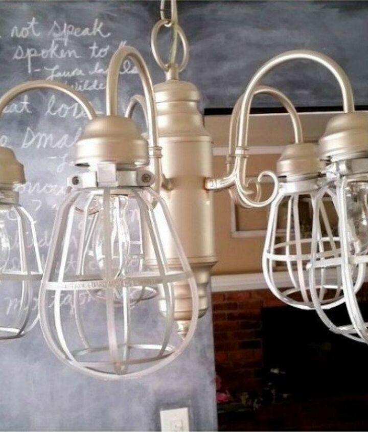 s 15 expensive looking lighting ideas that might surprise you, lighting, repurposing upcycling, Spray paint cheap plastic light cages