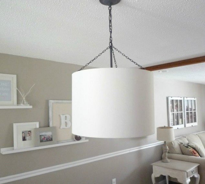 15 expensive looking lighting ideas that might surprise you hometalk cover a chandelier in a large drum shade aloadofball Images