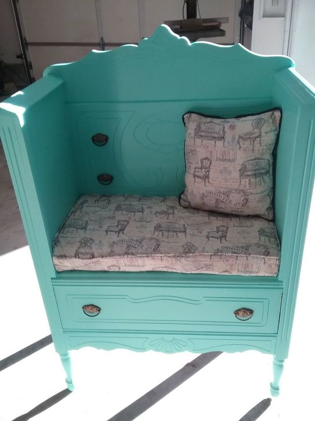 Mom S Old Dresser Turned Into Bench Outdoor Furniture Painted Repurposing Upcycling