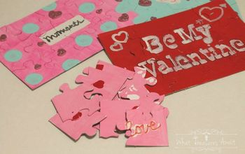 diy puzzle valentine we fit together, crafts, seasonal holiday decor, valentines day ideas