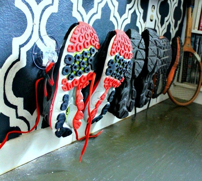 s 17 little known ways to use your wasted wall space, organizing, storage ideas, wall decor, Nail suction cup hooks up for shoes