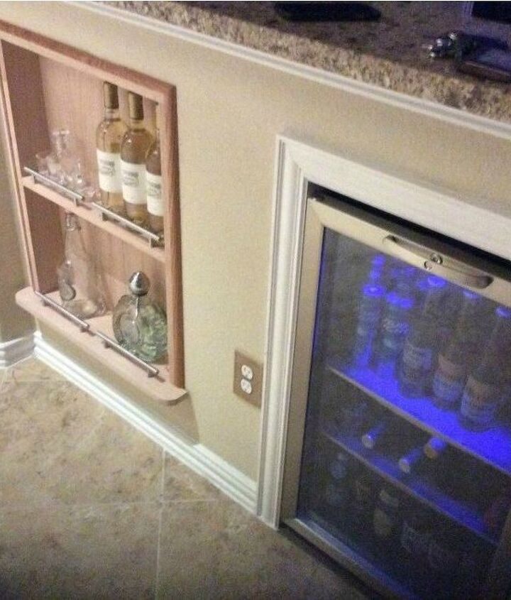 s 17 little known ways to use your wasted wall space, organizing, storage ideas, wall decor, Add a wine fridge or shelf to an island wall