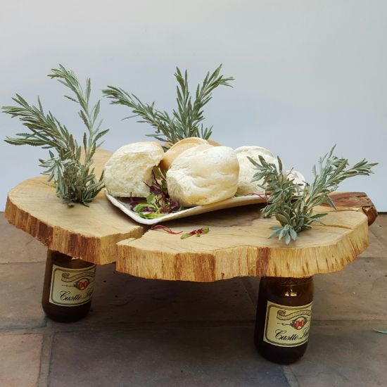 make a centerpiece from a slice of wood and some bottles, diy, home decor, repurposing upcycling, woodworking projects