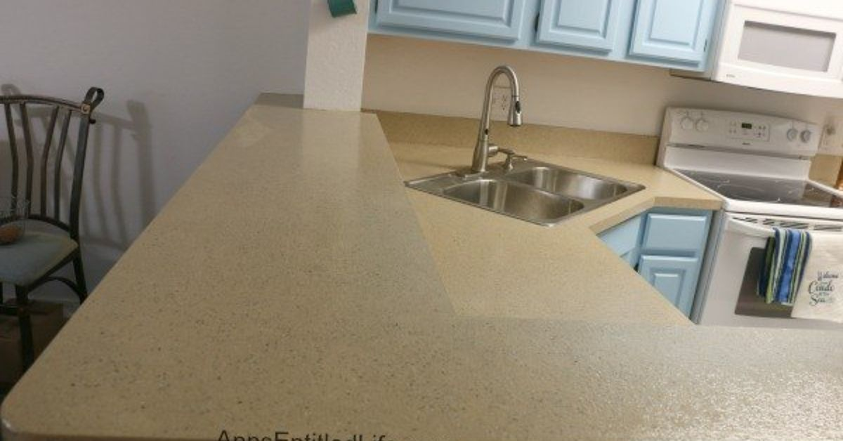 Refinished a Laminate Kitchen Countertop With Stone, Without ...