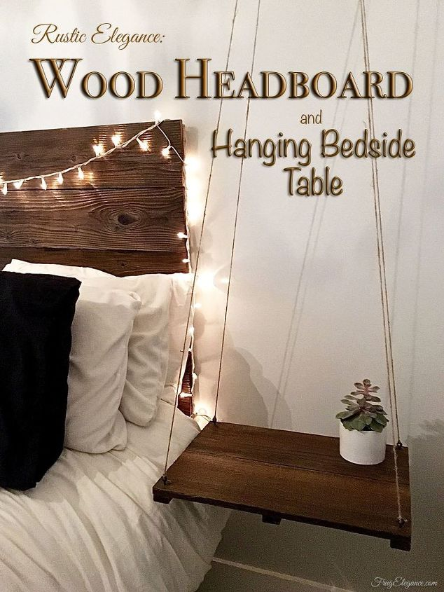 Rustic Headboard With Hanging Bedside Table | Hometalk