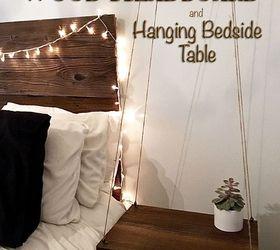 Rustic Headboard With Hanging Bedside Table, Bedroom Ideas, Diy, Painted  Furniture, Rustic