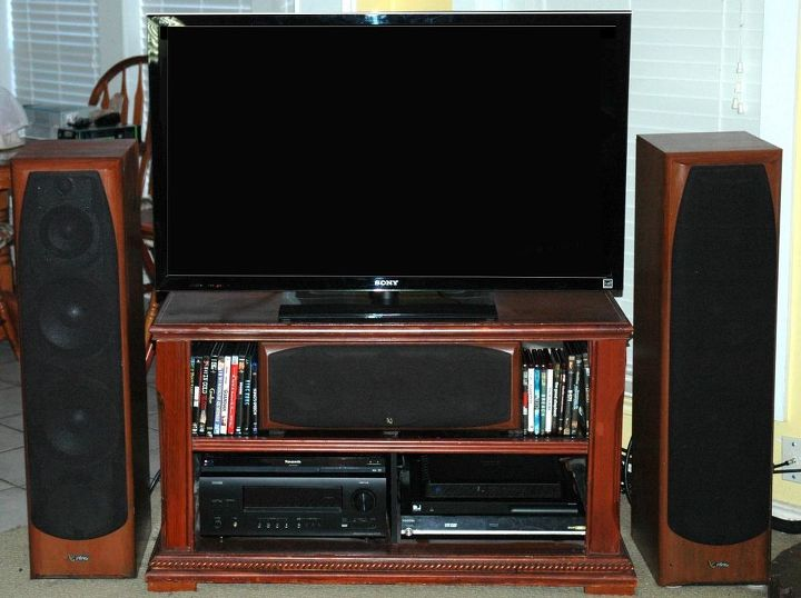 q refinish to match or, fireplaces mantels, home decor, home decor dilemma, Front view of Audio Video cabinet and tower speakers