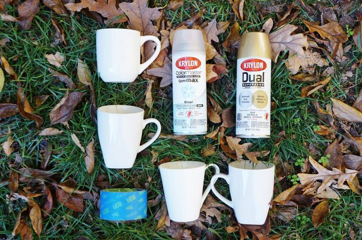 Diy Gold Geometric Spray Painted Mugs Hometalk