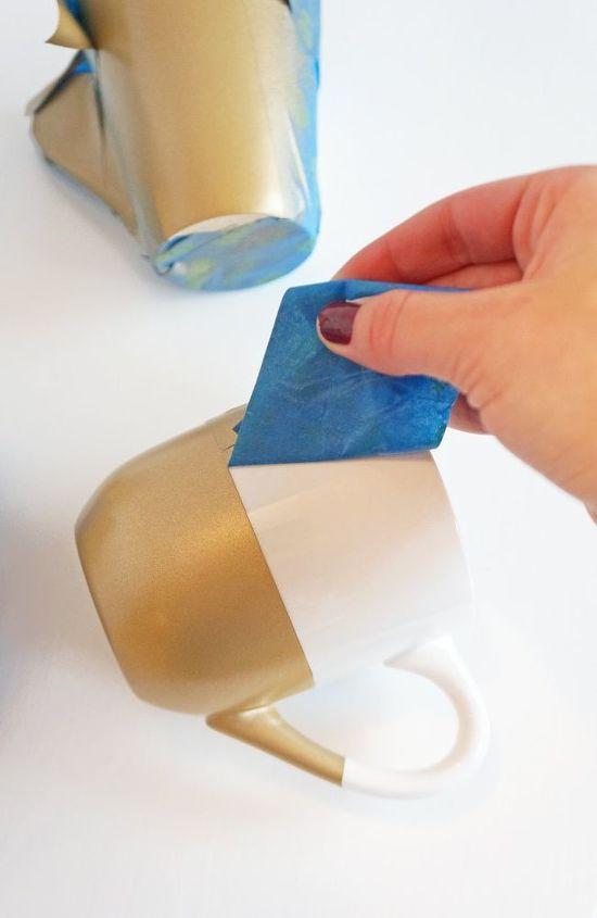 diy gold geometric spray painted mugs, kitchen design, painting