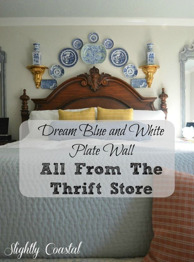 Blue and White Plate Wall From The Thrift Store | Hometalk