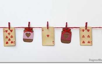 easy valentine s day banner with playing cards, crafts, seasonal holiday decor, valentines day ideas