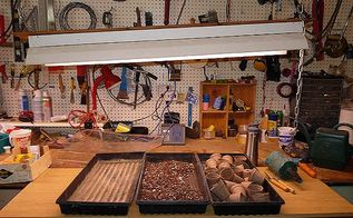 starting seeds indoors indoor grow table and grow lights set up, container gardening, gardening, Seed starting supplies