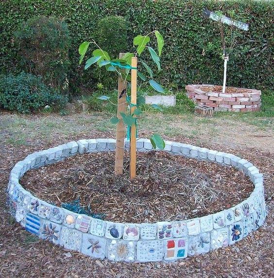 large homemade mosaic brick planter, concrete masonry, diy, gardening