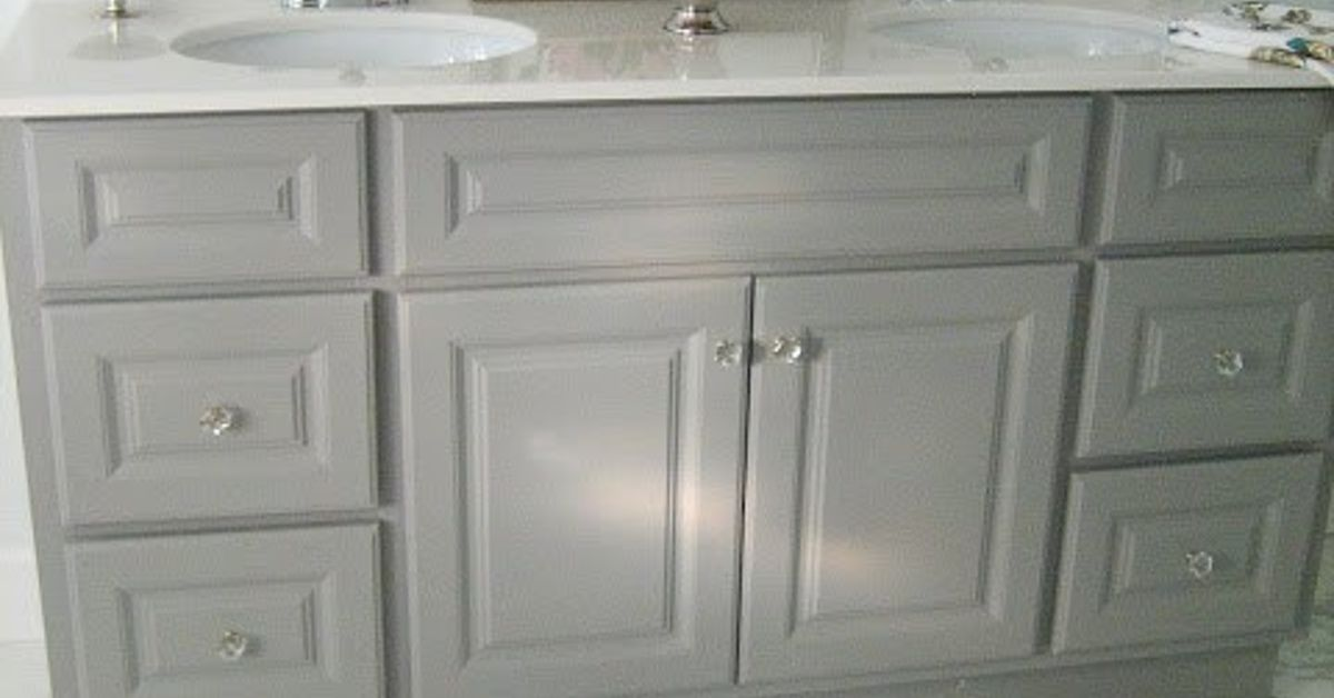 Diy Custom Gray Painted Bathroom Vanity From A Builder Grade Cabinet Hometalk