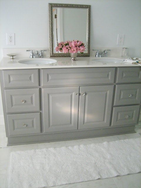 Paint Bathroom Vanity Ideas diy custom gray painted bathroom vanity from a builder grade cabinet