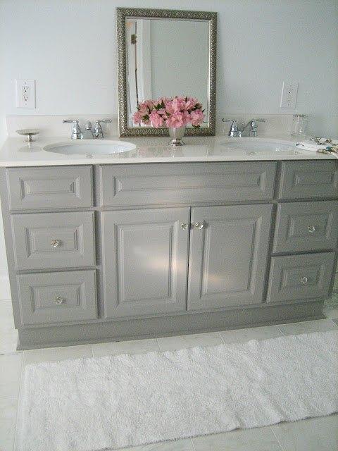 diy custom gray painted bathroom vanity from a builder grade cabinet, bathroom ideas, painted furniture