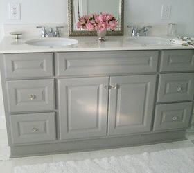Diy Custom Gray Painted Bathroom Vanity From A Builder Grade Cabinet,  Bathroom Ideas, Painted