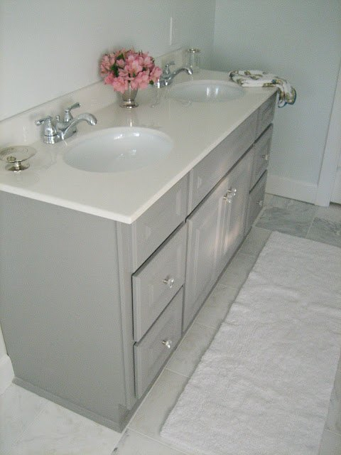 Diy Custom Gray Painted Bathroom Vanity From A Builder