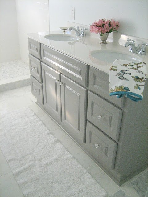 Diy custom gray painted bathroom vanity from a builder for Custom marble bathroom vanity tops