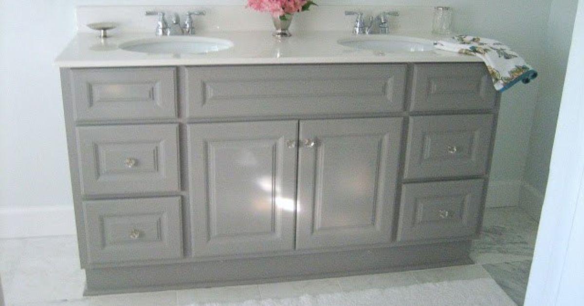 DIY Custom Gray Painted Bathroom Vanity From A Builder Grade Cabinet |  Hometalk