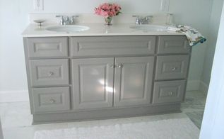 diy custom gray painted bathroom vanity from a builder grade cabinet, bathroom ideas, painted furniture