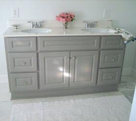 Attractive Diy Custom Gray Painted Bathroom Vanity From A Builder Grade Cabinet,  Bathroom Ideas, Painted
