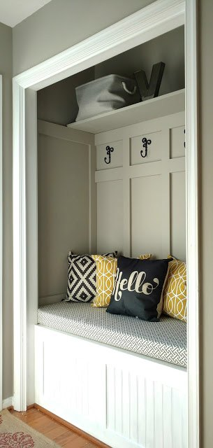 mudroom in a closet update, closet, diy, foyer, painting