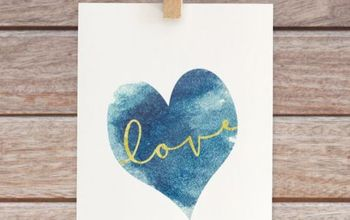 DIY Art - Gold Love Printable With Blue Watercolor Heart
