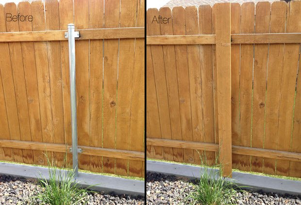 Got Ugly Metal Fence Posts Easy Diy Cure Hometalk