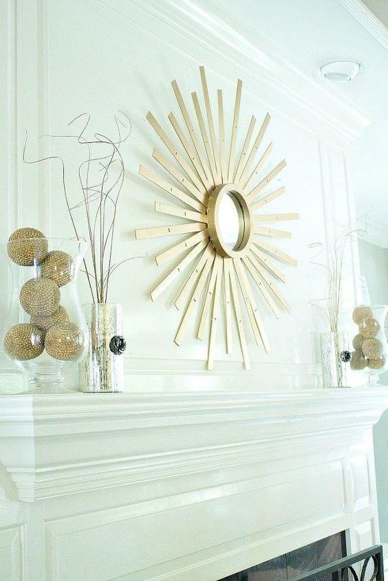 sunburst mirror made from thrift store mini blind, repurposing upcycling, wall decor