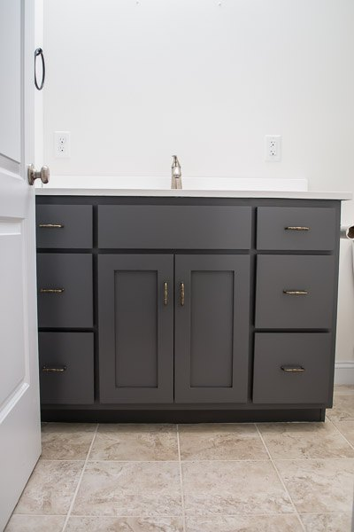farmhouse inspired bathroom makeover the vanity, bathroom ideas, diy, home improvement, painted furniture, rustic furniture