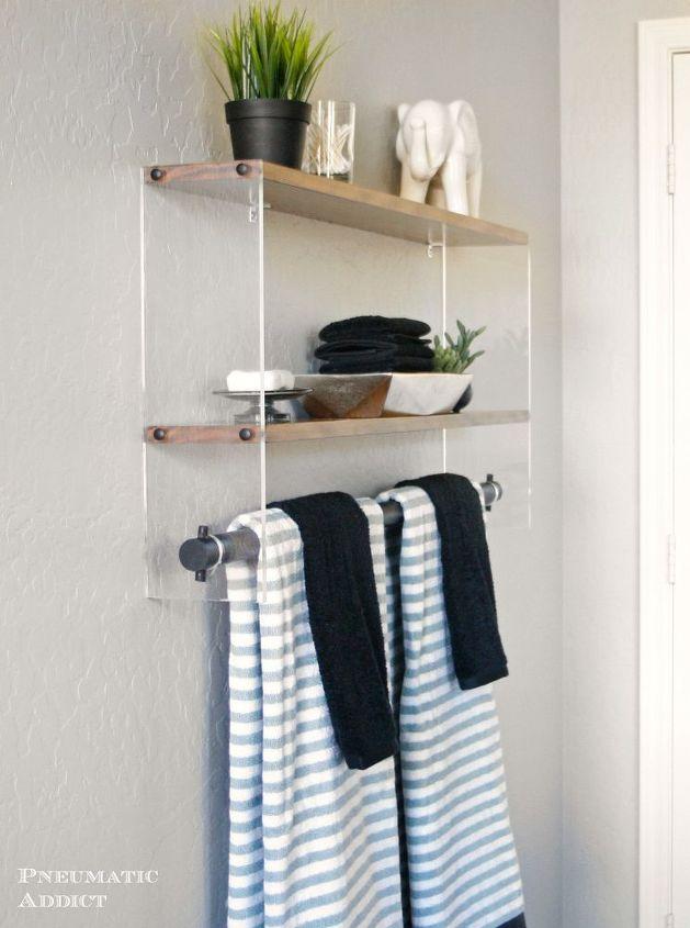 modern wood and acrylic shelf, bathroom ideas, diy, shelving ideas, small bathroom ideas, woodworking projects