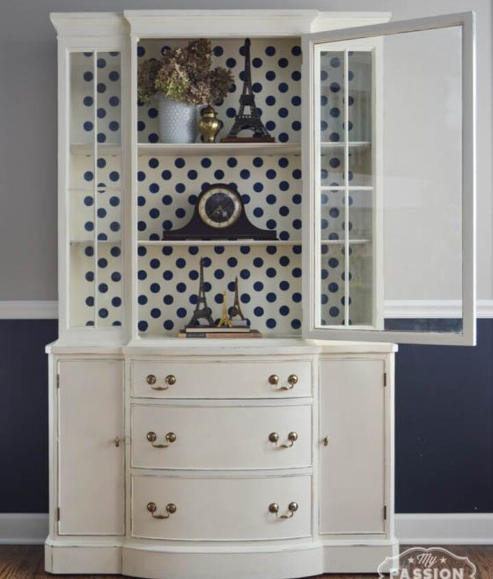 easy china cabinet update fun with polka dots, kitchen design, painted furniture